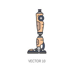Bionic robot leg prosthesis color line icon vector