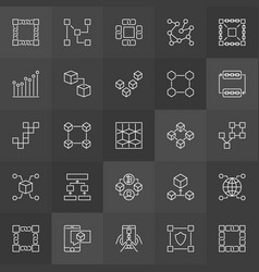 Block chain icons collection - blockchain vector