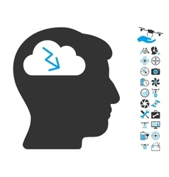 Brainstorming Icon With Air Drone Tools Bonus vector image vector image