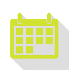 Calendar sign pear icon with flat vector