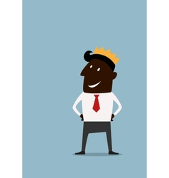 Cartoon businessman in golden crown vector image vector image