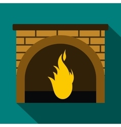 Christmas fireplace icon flat style vector