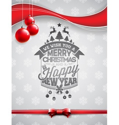 Christmas typographic design with shiny glass ball vector