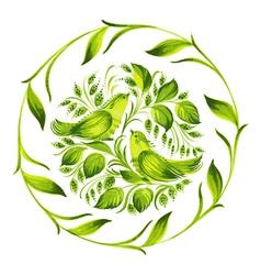 Decorative circle green birds of paradise vector