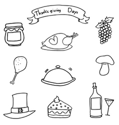Doodle of hand draw thanksgiving object vector