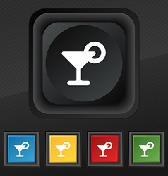 Drink cocktail with a lemon icon symbol Set of vector image