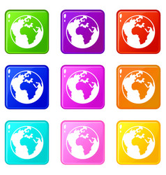 earth globe set 9 vector image vector image