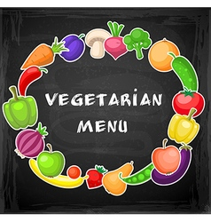 Fruits and vegetables on a chalkboard vector image