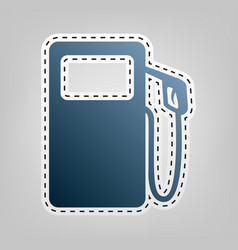 Gas pump sign blue icon with outline for vector