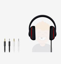 Headphone and mini jack plugs joyful boy vector