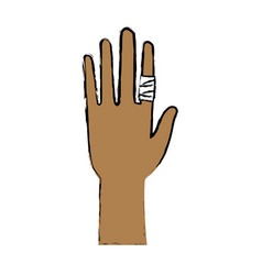 Human hand with finger bandage medical vector