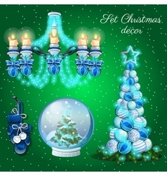 Interior decoration in christmas time 7 items vector