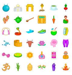Meditation icons set cartoon style vector