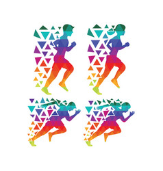Run color people vector