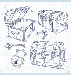 set icons old pirate chests with lock and keys vector image vector image
