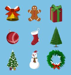 set of 9 christmas xmas icon cartoon style vector image vector image