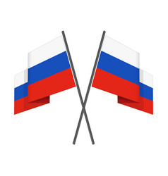 Two crossed russian flag vector