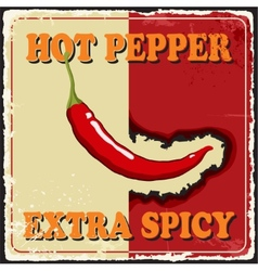 Vintage extra spicy poster chili pepper vector