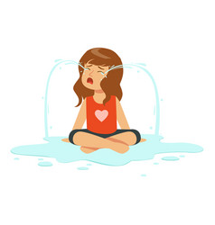 weeping girl character sitting on the floor in a vector image