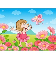 girl in nature vector image