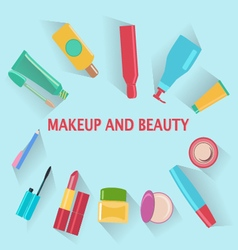 Makeup and beauty symbols cosmetics and fashion ba vector