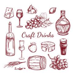 Craft drink sketch elements set vector