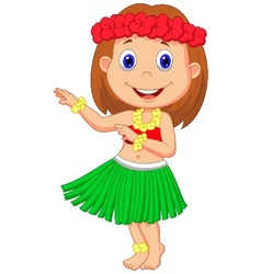 Little hula girl cartoon vector