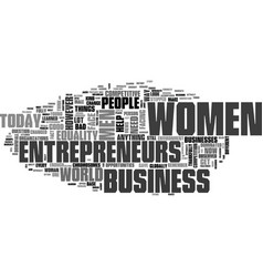 Women entrepreneur text word cloud concept vector
