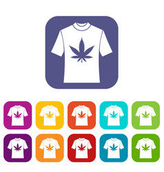 T-shirt with print of cannabis icons set vector
