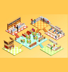 Food court isometric concept vector
