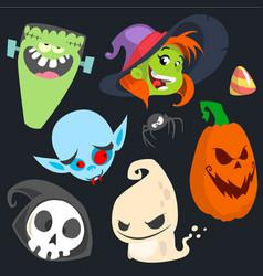cute cartoon halloween characters icon set vector image