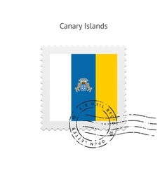 Canary islands flag postage stamp vector