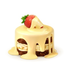 Cake with strawberry in white chocolate detailed vector
