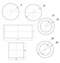 set of simple drawing shapes with size vector image