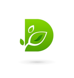 Letter d eco leaves logo icon design template vector
