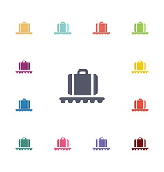 Luggage on airport flat icons set vector