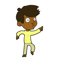 Comic cartoon pointing boy vector