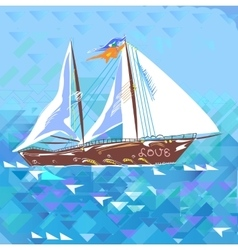 Sailboat love and romantic vector
