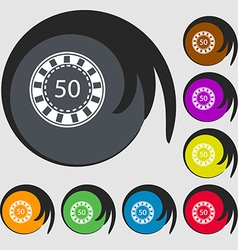 Gambling chips icon symbols on eight colored vector