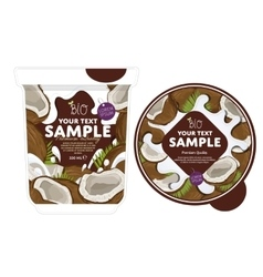 Coconut yogurt packaging design template vector