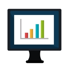 Computer with statistics bars showing growth on vector
