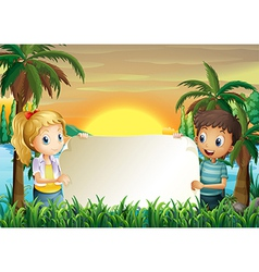 A boy and a girl holding an empty signboard vector image vector image