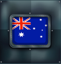 Australia flag on metalic background vector