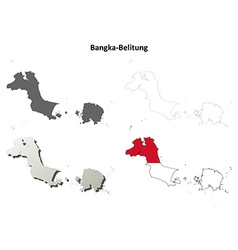 Bangka-belitung blank outline map set vector