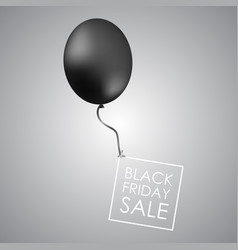 black balloon on grey background with inscription vector image vector image