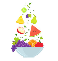 bowl with fruits vector image vector image
