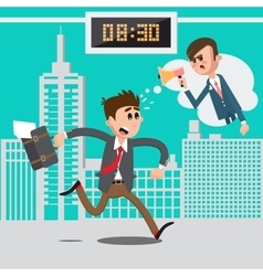 Businessman late for work angry boss vector