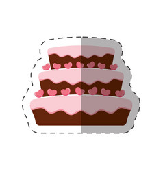cake dessert pink heart shadow vector image