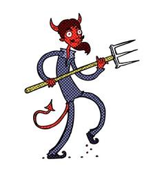 Comic cartoon devil with pitchfork vector