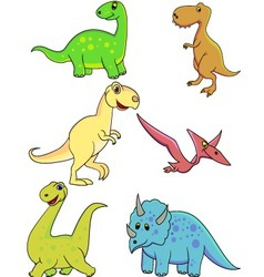 dinosaurs cartoon collection vector image